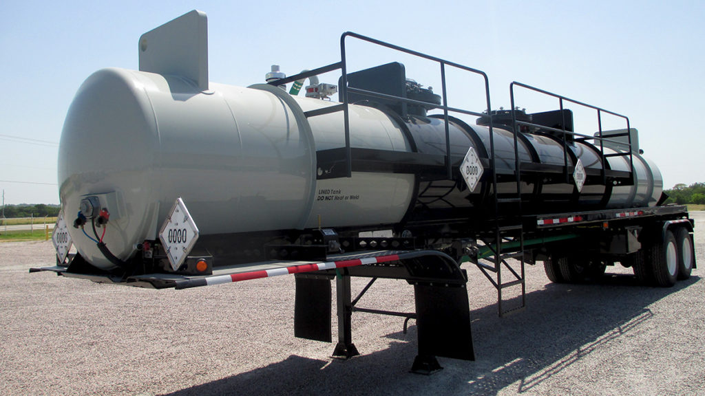 Dual Compartment Acid transport Steel tank With FRP Lining